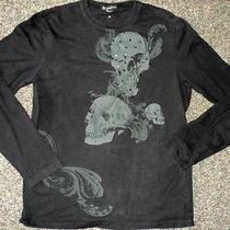 i.n.c. Black Skull Grahic T Shirt Sz M Photo