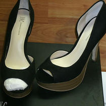 i.n.c. Denise Size 6m Black Peep Toe Suede Pumps Shoes (Black) Photo