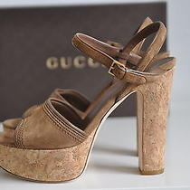 Ib Auth Gucci Brown Suede Cork Danielle Platform Heel Sandal Shoes Sz 9.5 / 39.5 Photo
