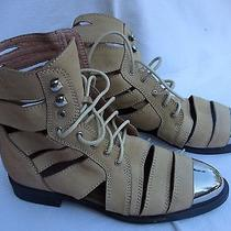 Ibiza by Jeffery Campbell Beige Leather Lac Up High Top Metal H/w Size 7.5 Photo