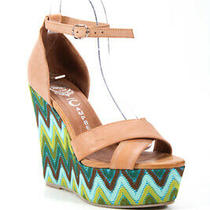 Ibiza Last Jeffrey Campbell Womens Platform Wedge Sandals Green Beige Size 7 Photo