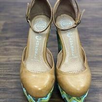Ibiza Last Jeffrey Campbell Womens Platform Wedge Sandals Green Beige Size 7 Photo