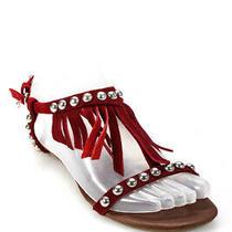 Ibiza Last Jeffrey Campbell Womens Suede Fringe Gladiator Sandals Red Size 7 Photo