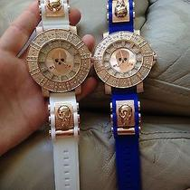 Iced Rose Gold Watch White Brand New Photo