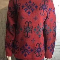 Iceland Vintage Sweater 100% Scandinavian Lambs Wool Size 12 (L-Xl) Red  Photo