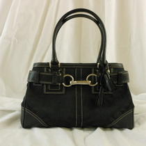 Iconic Coach Black on Black Signature Fabric Satchel Photo