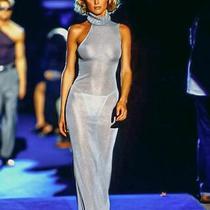 Iconic Versace Couture Gown Maxi Silver Dress Asymmetrical Sleeveless Seen Kim K Photo