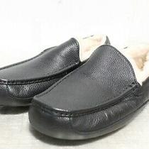 Ie-120 Ugg Ascot Men's Black Leather Slippers Sz 12 Photo