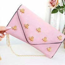 Ikrush Women's Chlo Bee Embellished Envelope Clutch Bag  in Blush Size 1sze Photo