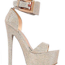 Imac-02 Rose Gold Glitter Platform Open Toe Stiletto Heels Sz. 9 Photo