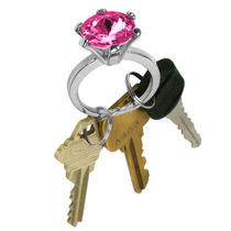 Imitation Bling Diamond Ring Key Chain - Rose Color Stone Db Photo