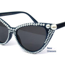 Imitation Pearl Design Cat Eye Sunglasses Hipster Vintage Style Retro Pointed Photo