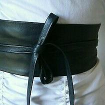 Imported  Obi  Wrap Belt in  Genuine Black/navy  Lamb  Leather  to   36