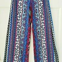 In Bloom by Jonquil Blue Purple Boho Slinky Knit Pajama Lounge Pant Women Medium Photo