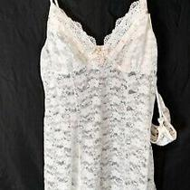 In Bloom by Jonquil Floral Lace Pearl Bow Chemise 2 Piece Set Ivory Size M Nwt Photo