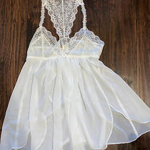 In Bloom by Jonquil Lace Sheer White Babydoll Pajama Dress Womens S Photo