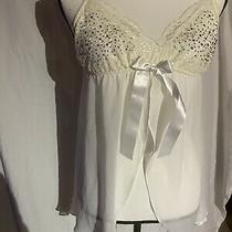 In Bloom by Jonquil Sheer Chiffon Lace Cup Babydoll Ivory Rhinestones Small Photo
