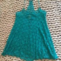 In Bloom  by Jonquil Teal Blue Short Lace Babydoll Nighty Lingerie Size Medium Photo