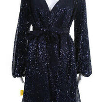 In Bloom by Olvi's v Neck Sequin Long Sleeve Wrap Dress Blue Size European 36 Photo