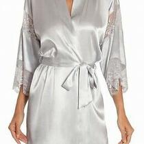 In Bloom Women's Sleepwear Silver Size Xs Satin Lace Detail Belted Robe 68 050 Photo