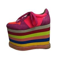 In Box C. 2013 Jeffrey Campbell Rainbow Highlite Platform Sneakers Size 6.5 Photo