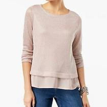 Inc 70 Womens New 1196 Pink Shine Faux Layered Casual Sweater M Bb Photo