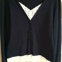 Inc Black Faux Layer Cardigan  Ivory Lace So Cute M Medium Photo