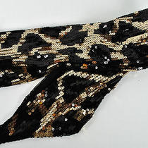 Inc Black & Gold Shimmer Sequined Scarf One Size - Nwt 40  Map  Photo