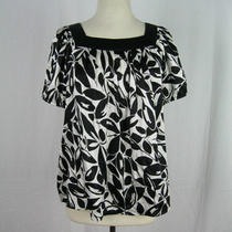 Inc Black White Floral Patterned Short Sleeve 100% Silk Blouse Shirt Top 10 M Photo