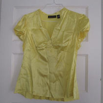 Inc Bright Yellow Silk Blouse Size 14 Photo