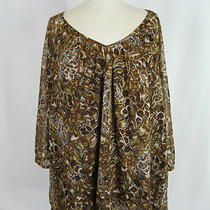 Inc Brown Gold Sheer Floral Print Lined Sleeves Flowy Top 3x Photo