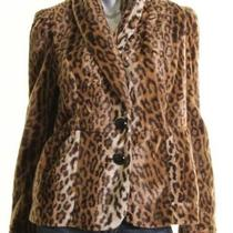 Inc Brown Leopard Faux Fur Collard Front Button Coat - M - Nwt 140   Map  Photo