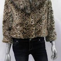 Inc Faux Fur Womens Misses Cropped Parachute Jacket Sz M Leopard Animal Print Us Photo