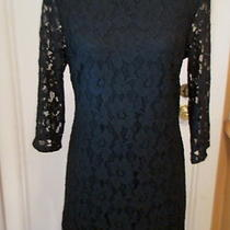Inc Gorgeous Dark Black 100% Nylon Lace Lined Shift Style Dress Large Photo