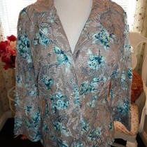 Inc Gray Stretch Lace Blouse Size L Photo