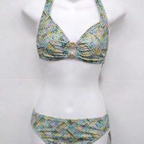 Inc Green Lilac Pattern Halter Bikini Swimsuit Xs Cup A Photo