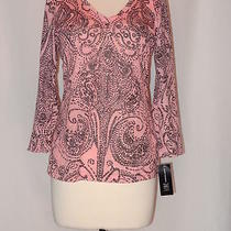 Inc International Concepts 3/4 Sleeve v Neck Tee Dotted Paisley L Pink New  Photo