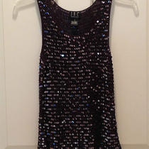 Inc International Concepts Evening Party Black Sequin Tank Top Ps Photo