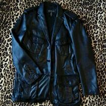 Inc International Concepts Men's Designer Black Blazer Leather Jacket Diesel Photo