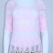 Inc International Concepts New 79.50 Elbow Sleeve Crochet Top S Blush Garden  Photo