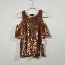 Inc International Concepts Rose Gold Sequin Open Shoulder Shirt Women's Size Pp Photo