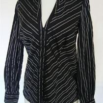 Inc International Concepts Stretch Cotton Black Pinstripe Blouse Shirt Sz4 Photo