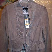 Inc International Concepts Suede Ruffle Taupe Jacket Nwt Reduced Price Photo