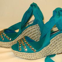 Inc International Concepts Tasia  Teal Espadrille Wedge Heel Sandal Shoe 6m 69 Photo