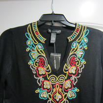 Inc International Concepts Tunic Long Bell Sleeve Embroidered  Size S Photo