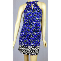 Inc Medium Blue Black White Abstract Print Embellished Knit Halter Dress Nwt F/s Photo