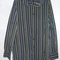 Inc Mens Black Multi Color Striped Long Sleeve Button Down Shirt Size Large Photo