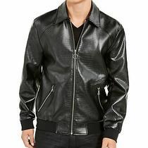 Inc Mens Jacket Black Size 2xl Embossed Coach Faux Leather Front Zip 129 063 Photo