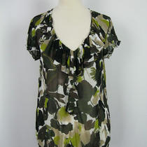 Inc Multi-Color Floral Print Sheer Blouse Top M Photo