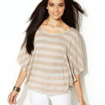 Inc New Gold Metallic Striped Scoop Neck Kimono Circle Pullover Top Shirt L Photo